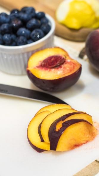 Berry Peach Cobbler Breakfast Cake Prep