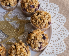 cranberry oat muffins on display
